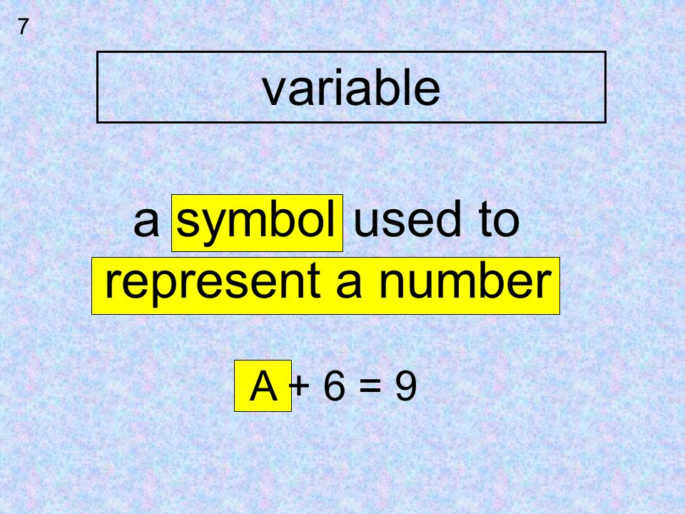 variable 7 a symbol used to represent a number A + 6 = 9