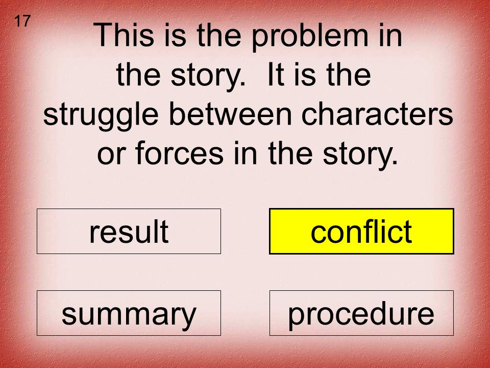 This is the problem in the story. It is the struggle between characters or forces in the story.