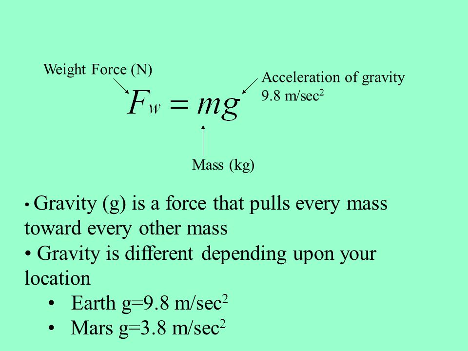 Acceleration of gravity 9.8 m/sec 2 Mass (kg) Weight Force (N) Gravity (g) is a force that pulls every mass toward every other mass Gravity is different depending upon your location Earth g=9.8 m/sec 2 Mars g=3.8 m/sec 2