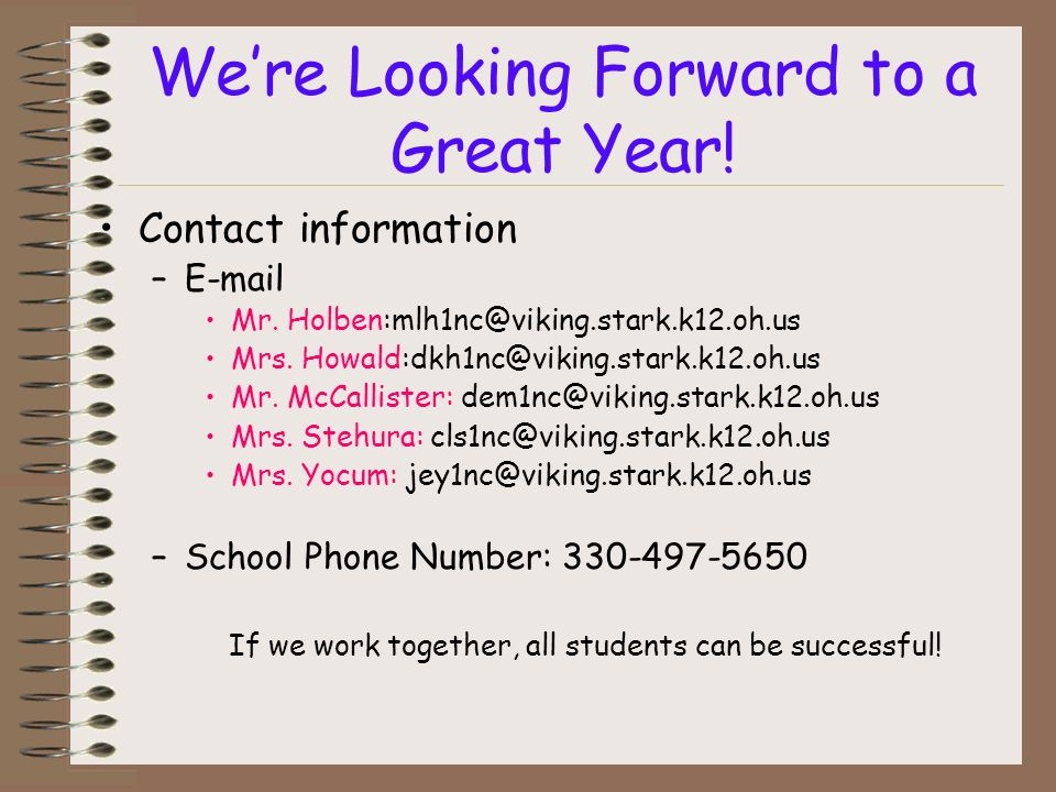 Were Looking Forward to a Great Year. Contact information – Mr.