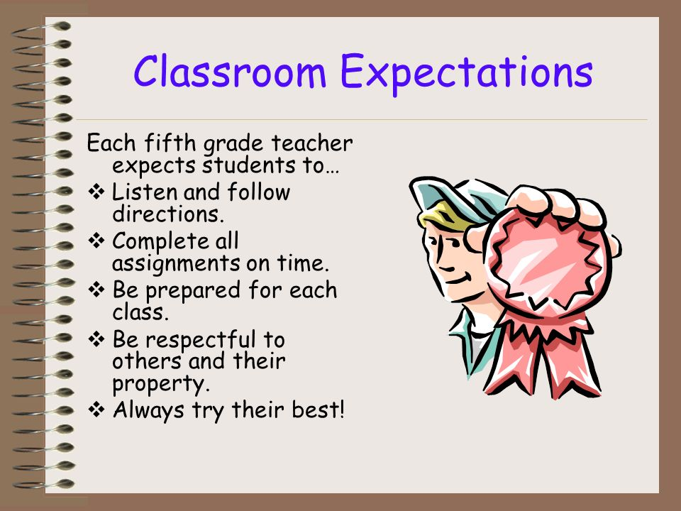 Classroom Expectations Each fifth grade teacher expects students to… Listen and follow directions.