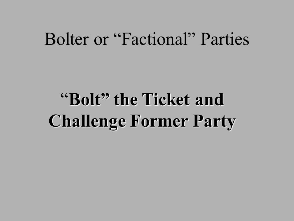 Bolter or Factional Parties Bolt the Ticket and Challenge Former PartyBolt the Ticket and Challenge Former Party