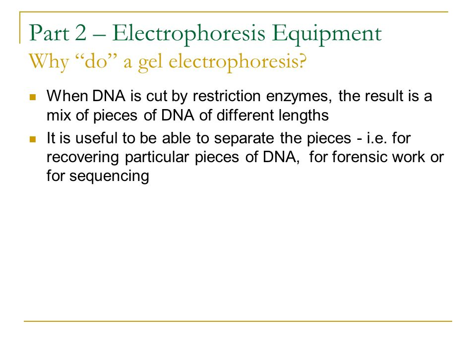 Part 2 – Electrophoresis Equipment Why do a gel electrophoresis? When DNA is cut by restriction enzymes, the result is a mix of pieces of DNA of diffe