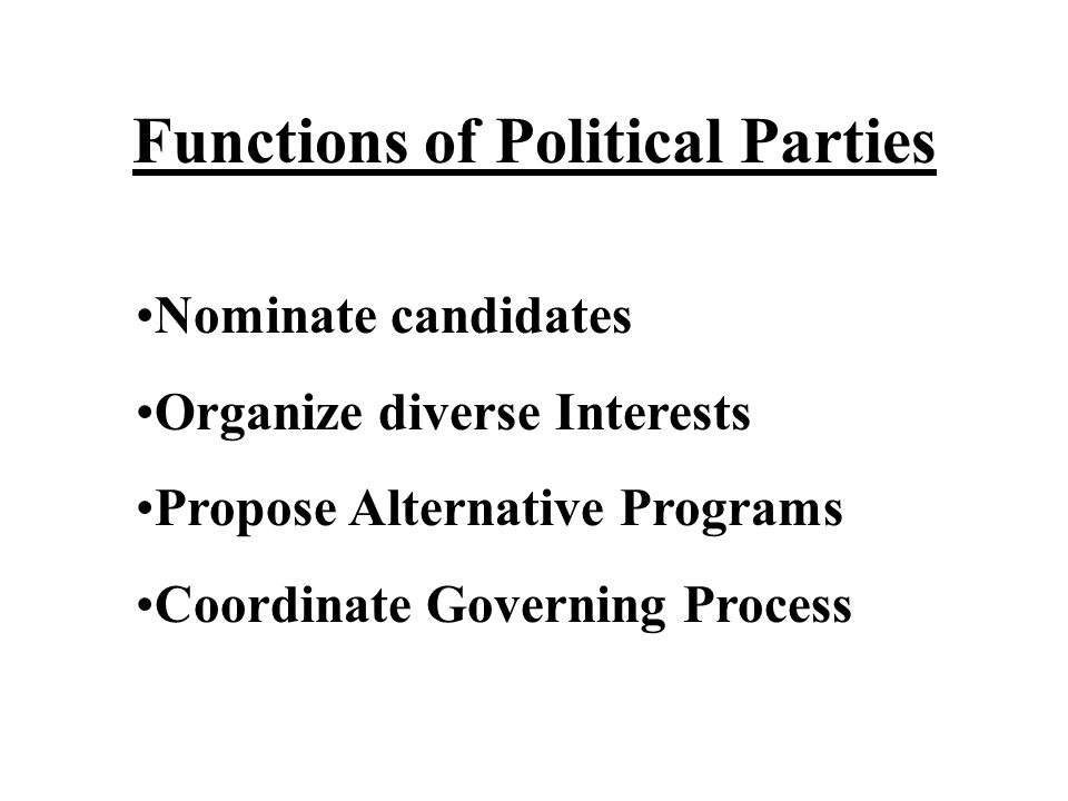 Functions of Political Parties Nominate candidates Organize diverse Interests Propose Alternative Programs Coordinate Governing Process