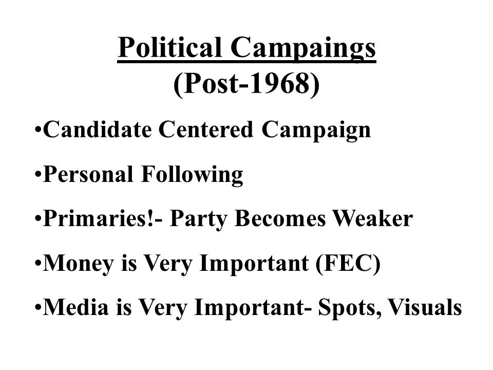 Political Campaings (Post-1968) Candidate Centered Campaign Personal Following Primaries!- Party Becomes Weaker Money is Very Important (FEC) Media is