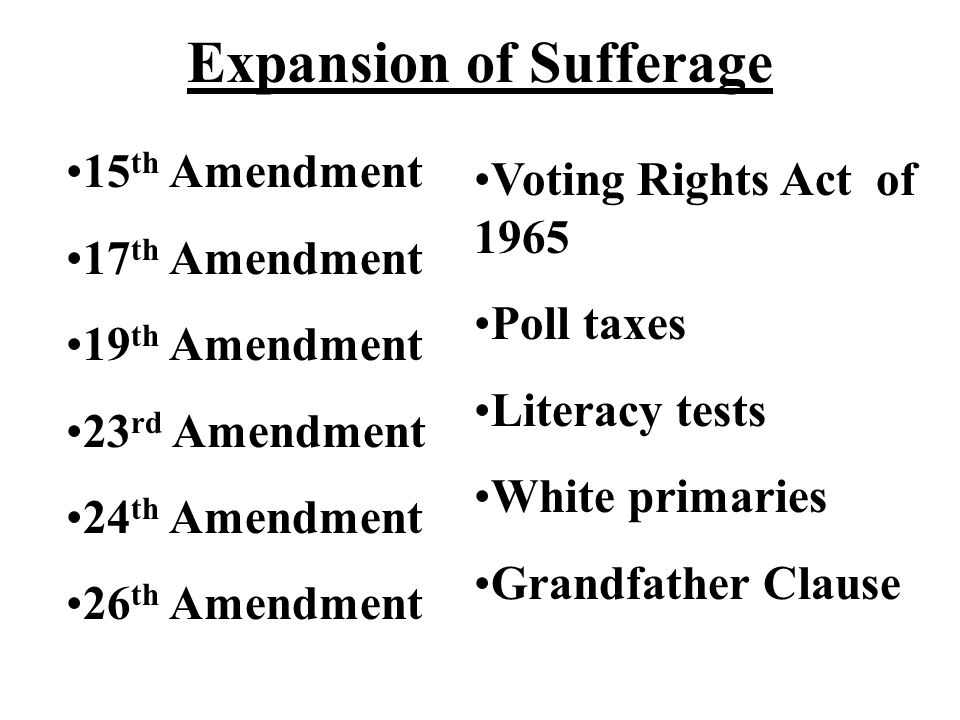 Expansion of Sufferage 15 th Amendment 17 th Amendment 19 th Amendment 23 rd Amendment 24 th Amendment 26 th Amendment Voting Rights Act of 1965 Poll