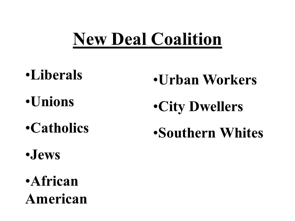 New Deal Coalition Liberals Unions Catholics Jews African American Urban Workers City Dwellers Southern Whites