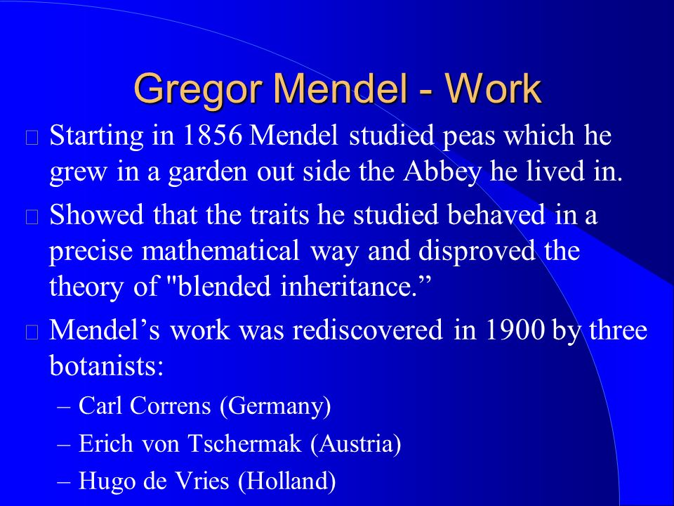 Gregor Mendel - Work Starting in 1856 Mendel studied peas which he grew in a garden out side the Abbey he lived in.