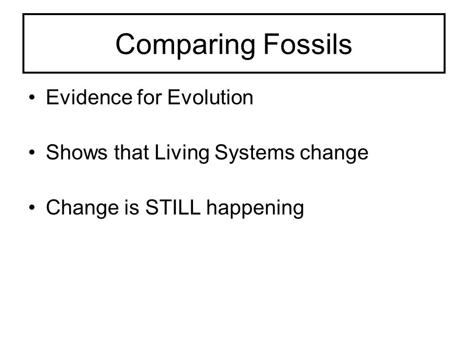 Comparing Fossils Evidence for Evolution Shows that Living Systems change Change is STILL happening