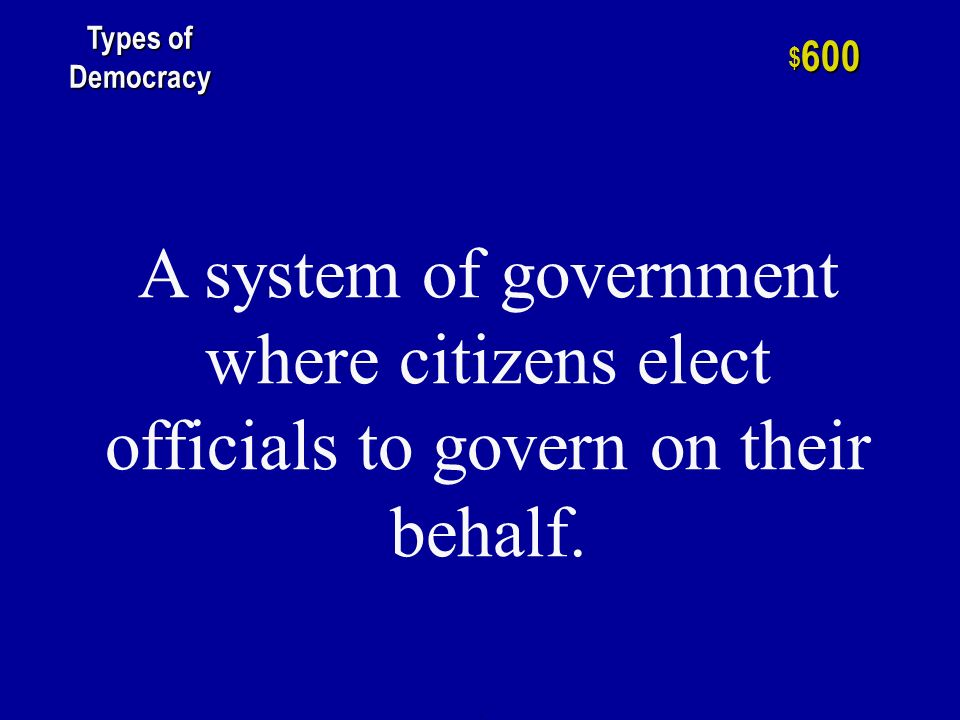 h $ 400 Types of Democracy It is the type of government in which the power to govern is placed in the hands of one individual.