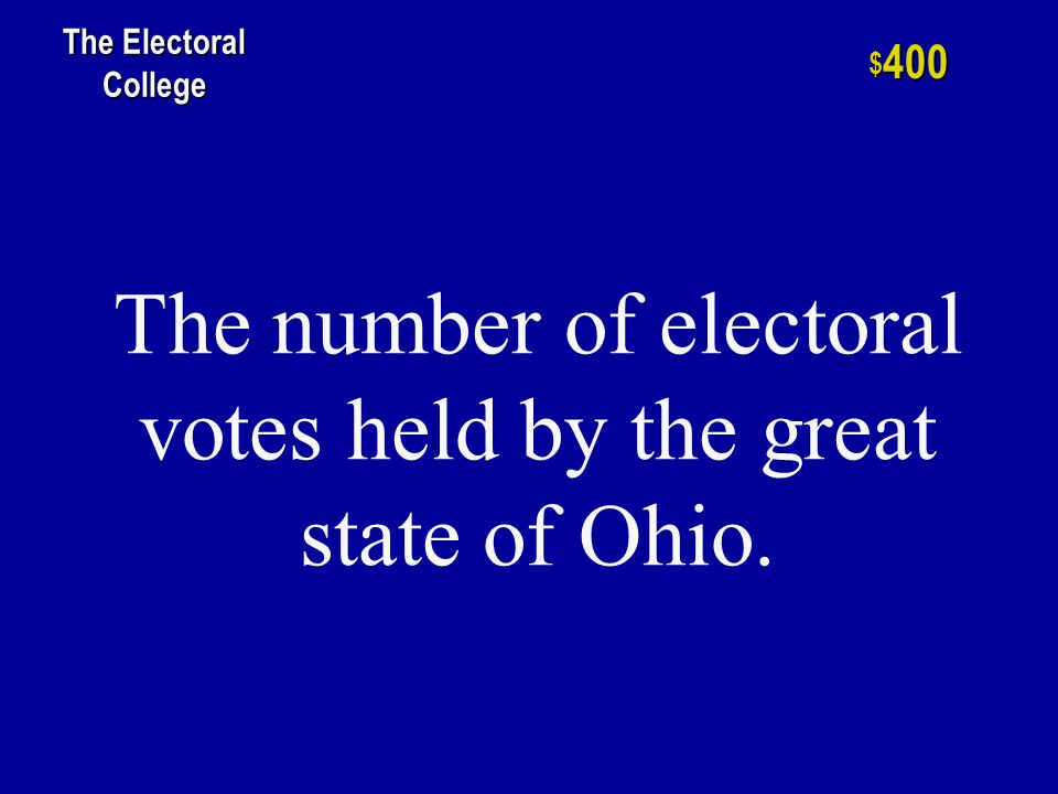 h $ 200 The Electoral College This vote is required to win the Presidency of the United States.