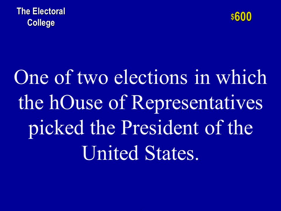 h $ 400 The Electoral College The number of electoral votes held by the great state of Ohio.