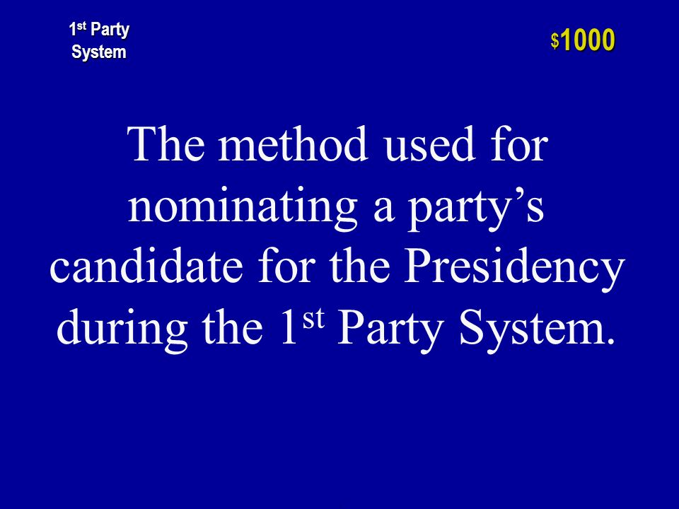 h $ st Party System The Congressional body that chooses the President if no candidate receives a majority of the Electoral vote.