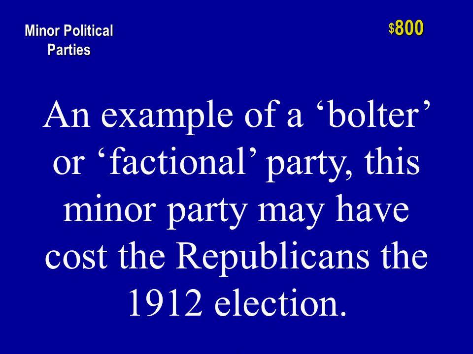 h $ 600 Minor Political Parties The type of minor party that tends to endure because they care more about principle and less about winning.