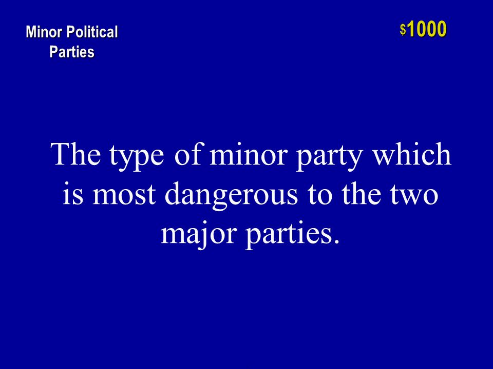 h $ 800 Minor Political Parties An example of a bolter or factional party, this minor party may have cost the Republicans the 1912 election.