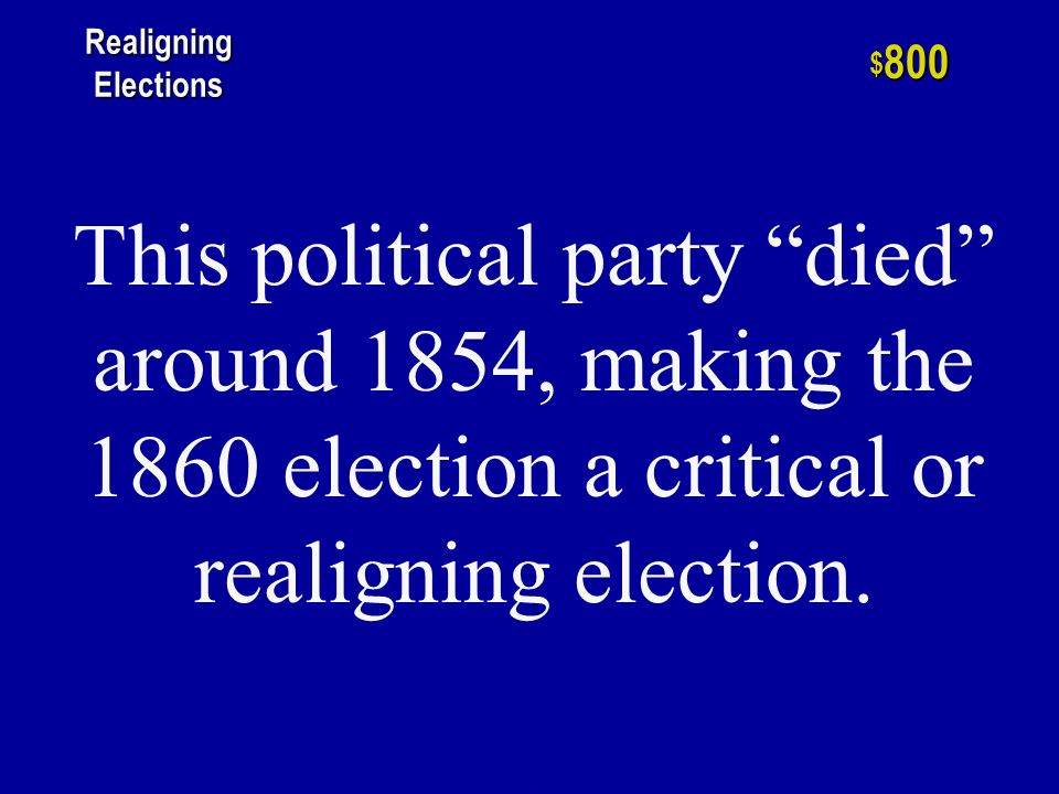 h $ 600 Realigning Elections One of the two elections lost by the Republican Party between 1896 and 1932.