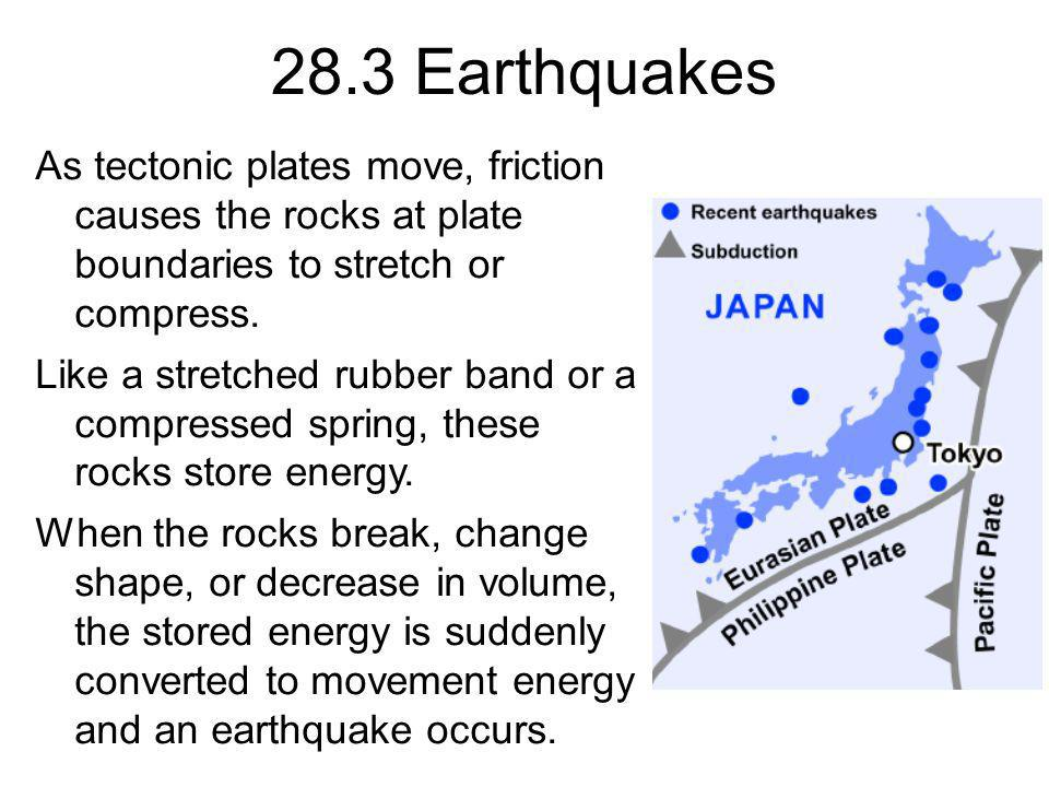28.3 Earthquakes As tectonic plates move, friction causes the rocks at plate boundaries to stretch or compress.