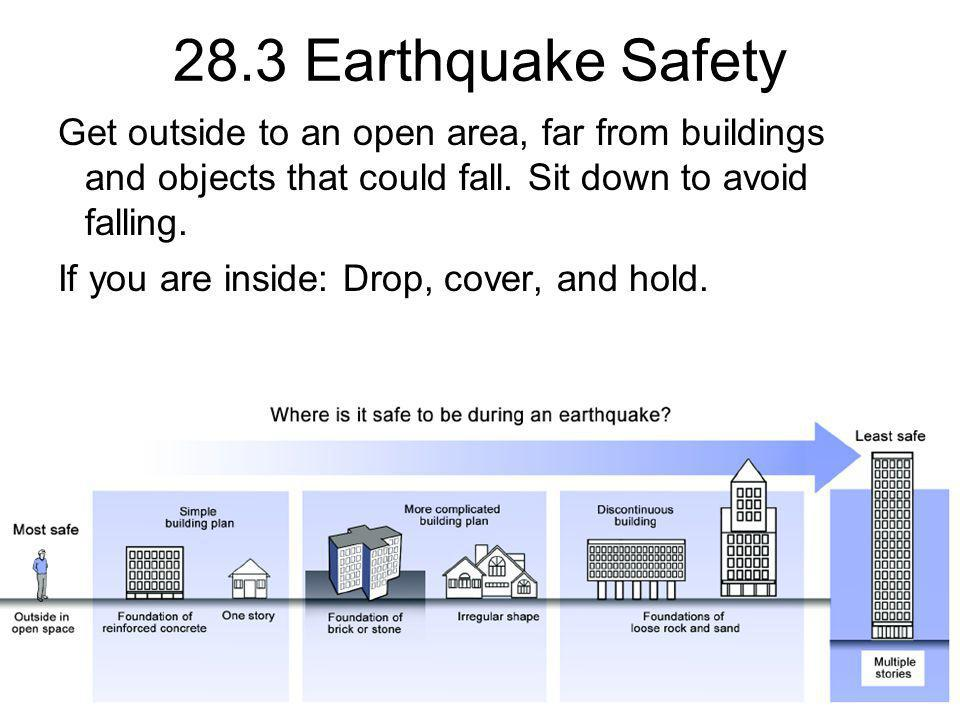 28.3 Earthquake Safety Get outside to an open area, far from buildings and objects that could fall. Sit down to avoid falling. If you are inside: Drop