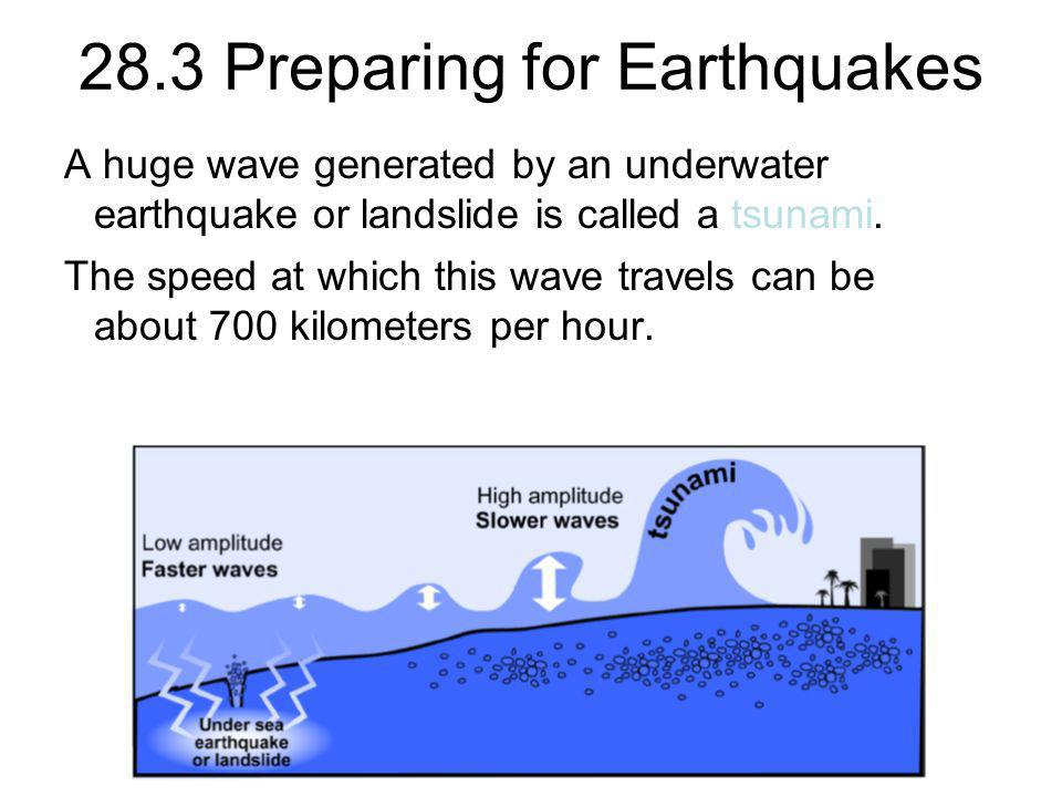 28.3 Preparing for Earthquakes A huge wave generated by an underwater earthquake or landslide is called a tsunami. The speed at which this wave travel