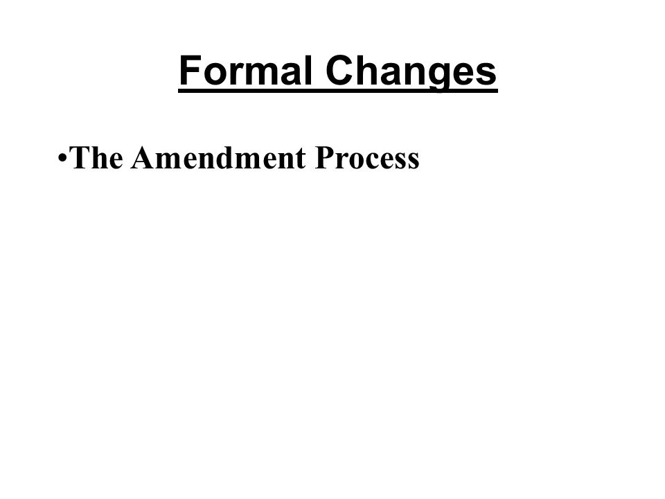 Formal Changes The Amendment Process