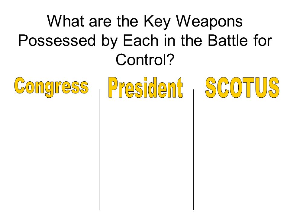 What are the Key Weapons Possessed by Each in the Battle for Control?