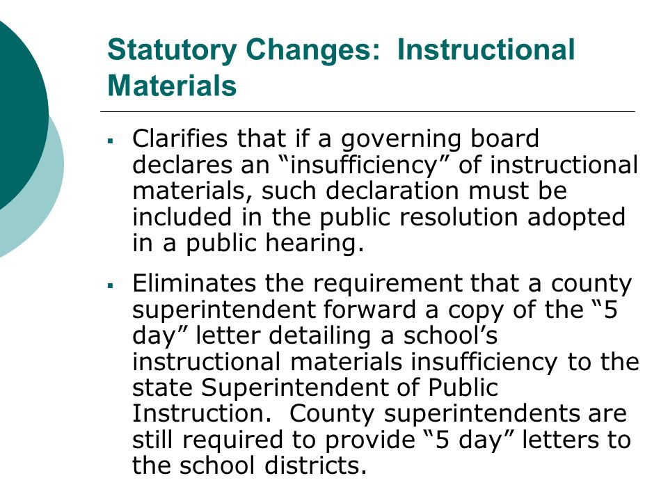 Clarifies that if a governing board declares an insufficiency of instructional materials, such declaration must be included in the public resolution a