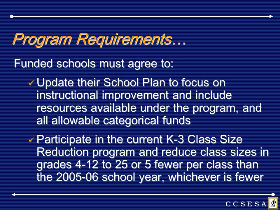 Program Requirements… Funded schools must agree to: Update their School Plan to focus on instructional improvement and include resources available und