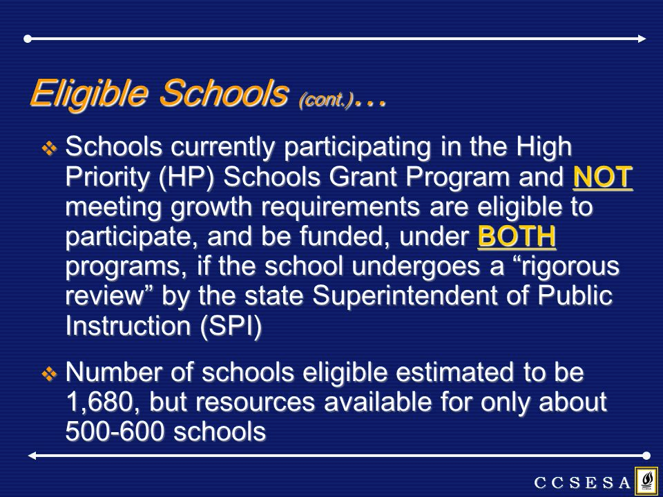Eligible Schools (cont.) … Schools currently participating in the High Priority (HP) Schools Grant Program and NOT meeting growth requirements are eli