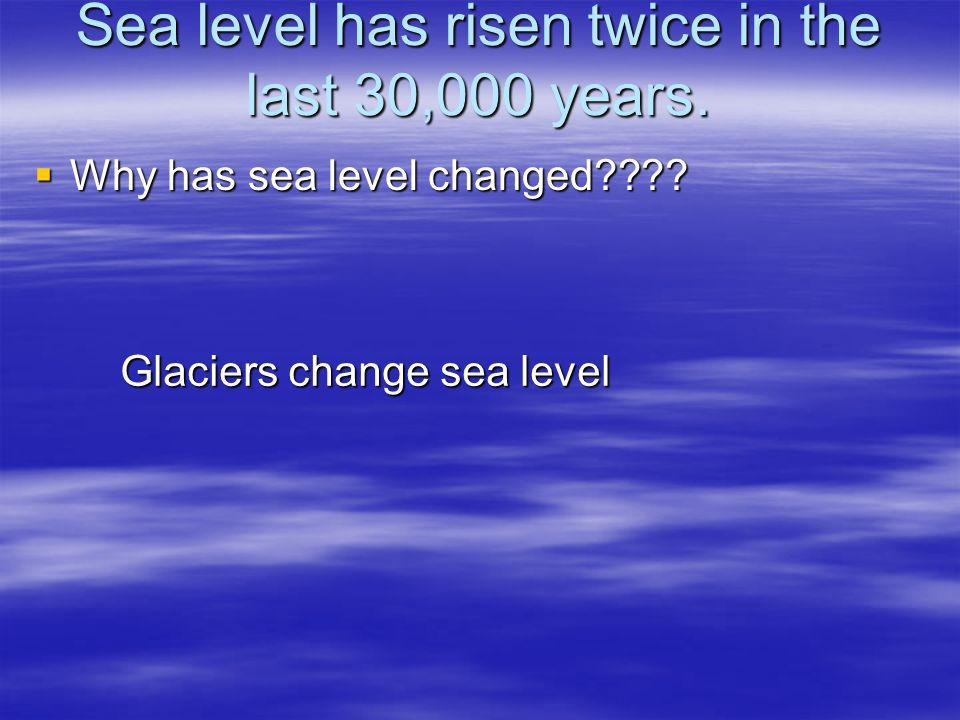 Sea level has risen twice in the last 30,000 years. Why has sea level changed???? Why has sea level changed???? Glaciers change sea level