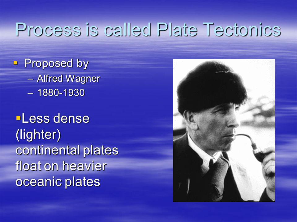 Process is called Plate Tectonics Proposed by Proposed by –Alfred Wagner –1880-1930 Less dense (lighter) continental plates float on heavier oceanic p
