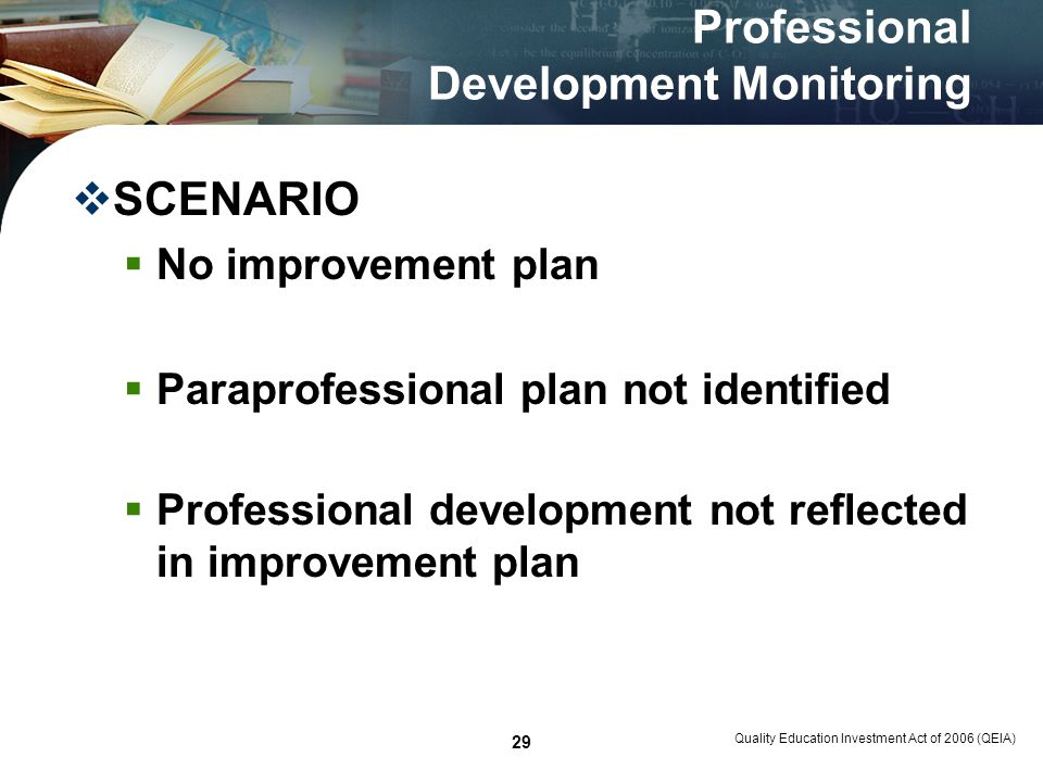 Quality Education Investment Act of 2006 (QEIA) 29 Professional Development Monitoring SCENARIO No improvement plan Paraprofessional plan not identifi