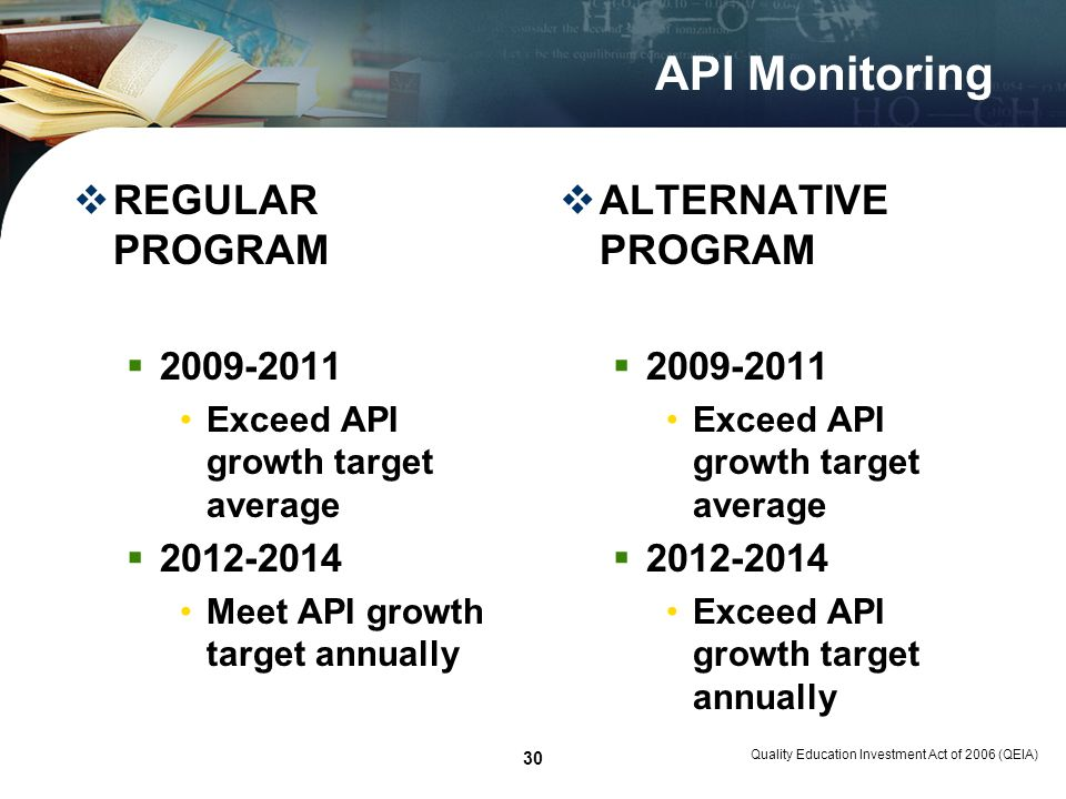 Quality Education Investment Act of 2006 (QEIA) 30 API Monitoring REGULAR PROGRAM 2009-2011 Exceed API growth target average 2012-2014 Meet API growth