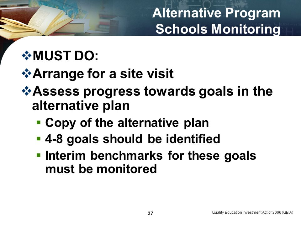 Quality Education Investment Act of 2006 (QEIA) 37 Alternative Program Schools Monitoring MUST DO: Arrange for a site visit Assess progress towards go