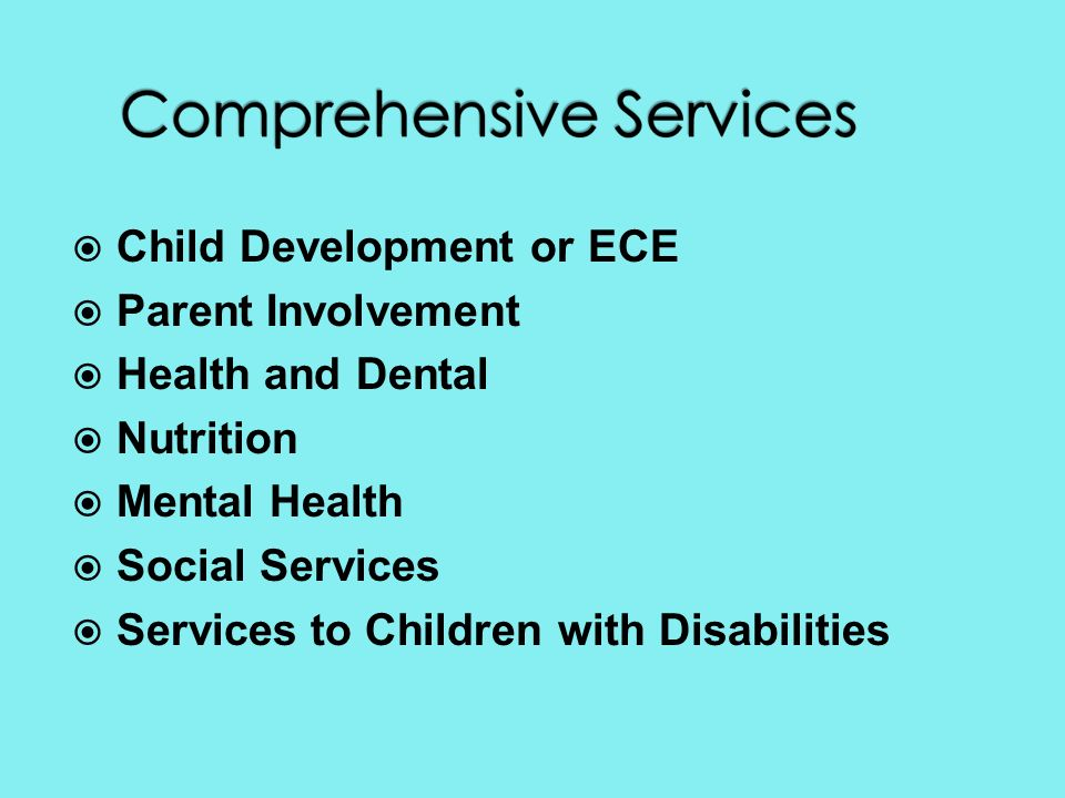 Child Development or ECE Parent Involvement Health and Dental Nutrition Mental Health Social Services Services to Children with Disabilities