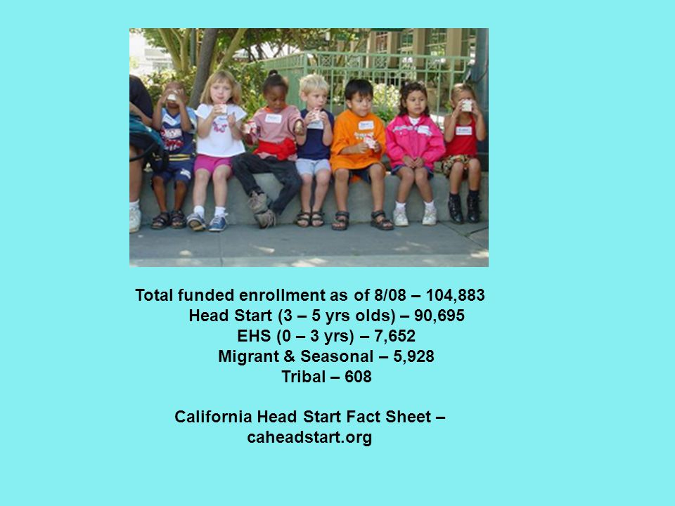 Total funded enrollment as of 8/08 – 104,883 Head Start (3 – 5 yrs olds) – 90,695 EHS (0 – 3 yrs) – 7,652 Migrant & Seasonal – 5,928 Tribal – 608 California Head Start Fact Sheet – caheadstart.org