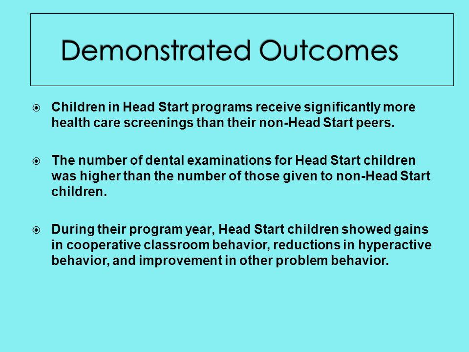 Children in Head Start programs receive significantly more health care screenings than their non-Head Start peers.