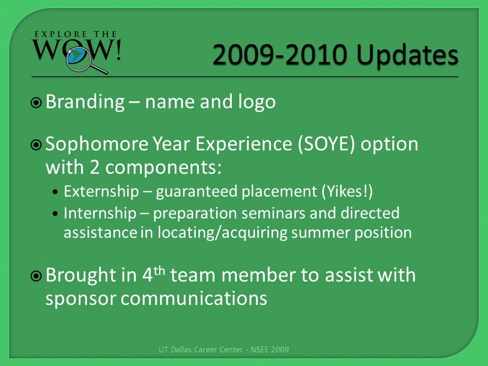 Branding – name and logo Sophomore Year Experience (SOYE) option with 2 components: Externship – guaranteed placement (Yikes!) Internship – preparation seminars and directed assistance in locating/acquiring summer position Brought in 4 th team member to assist with sponsor communications UT Dallas Career Center - NSEE 2009