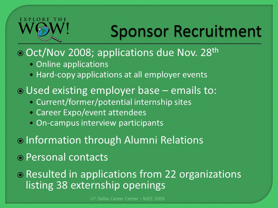 Oct/Nov 2008; applications due Nov.