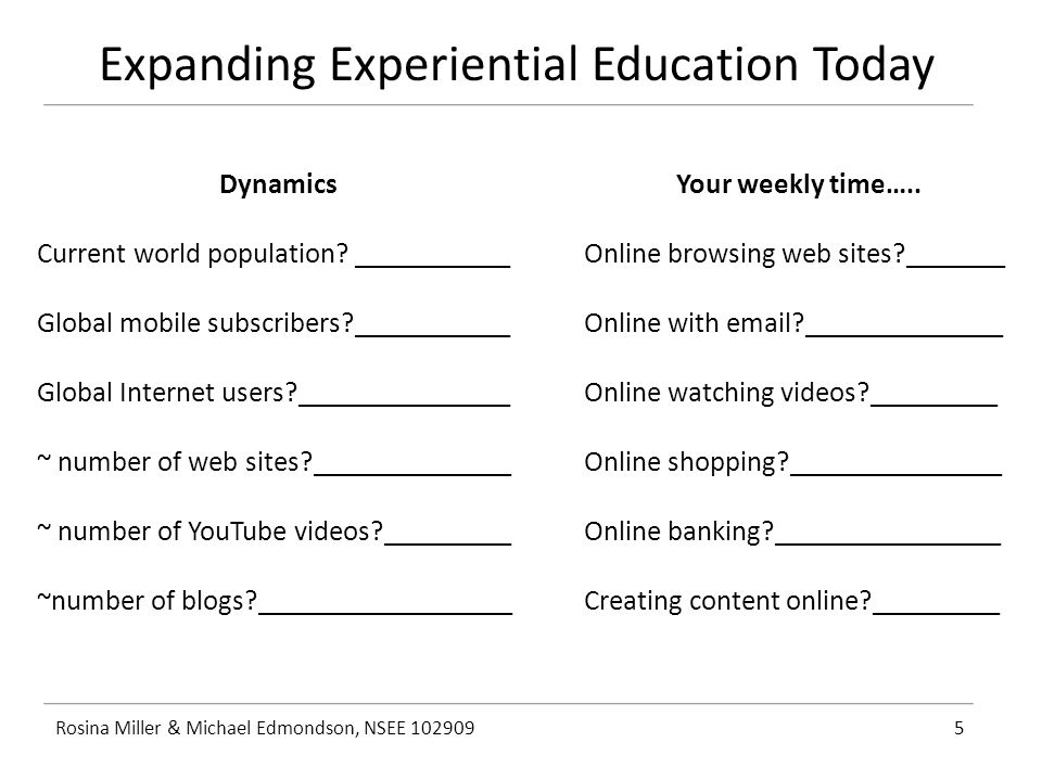 Expanding Experiential Education Today Rosina Miller & Michael Edmondson, NSEE 1029095 Dynamics Current world population.