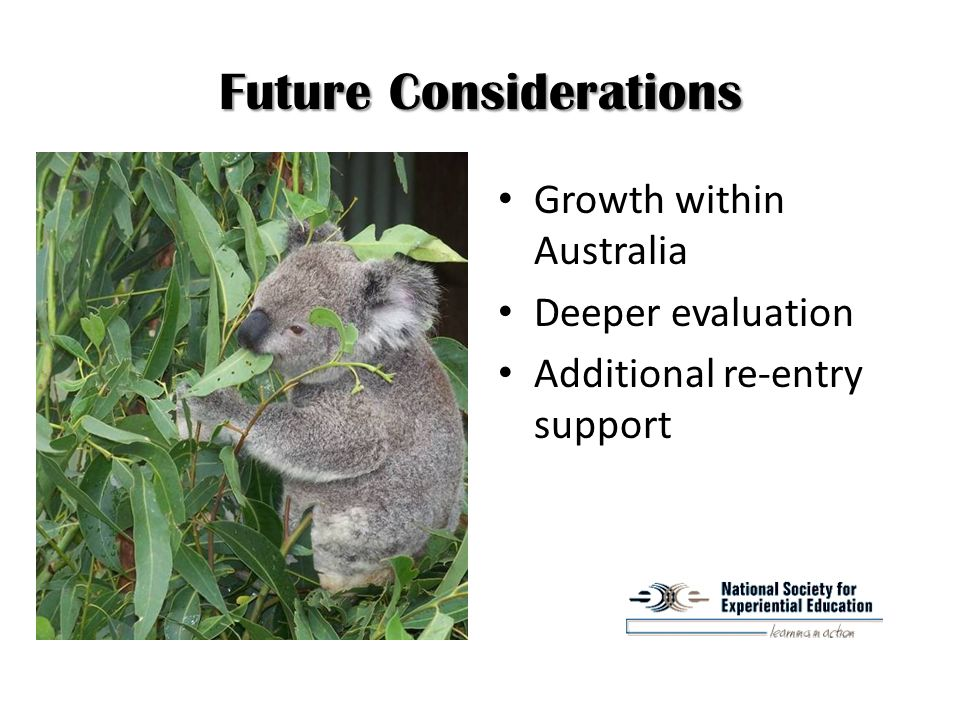 Future Considerations Growth within Australia Deeper evaluation Additional re-entry support