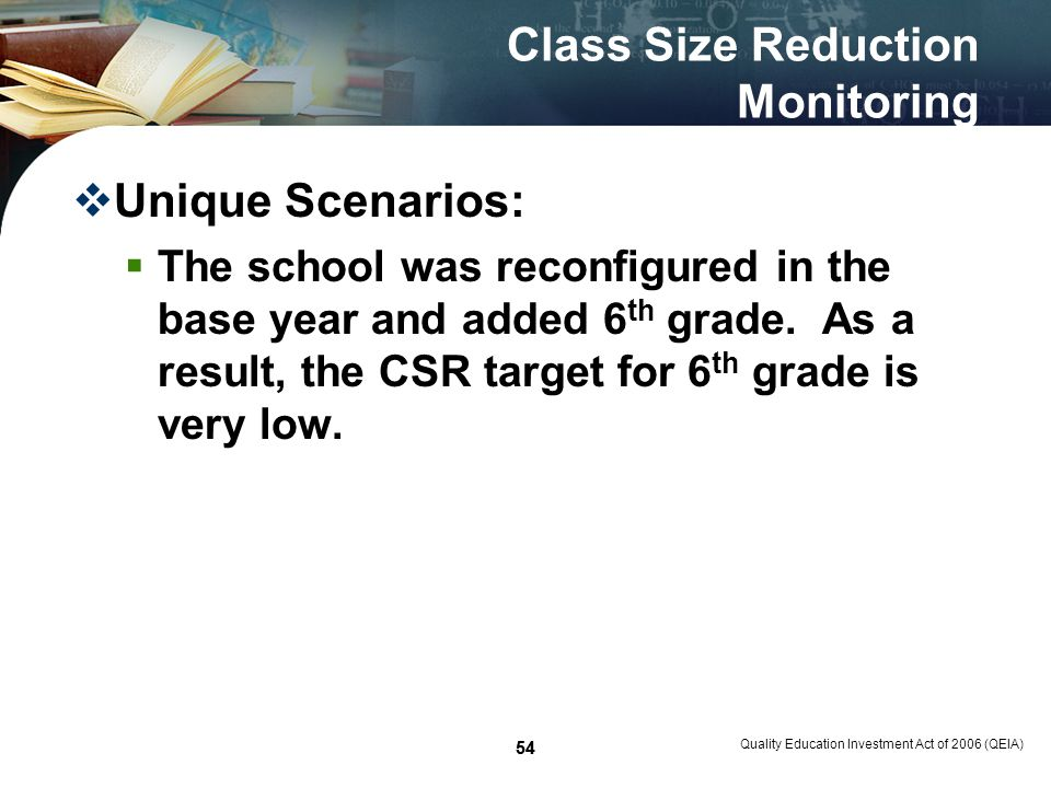 54 Class Size Reduction Monitoring Unique Scenarios: The school was reconfigured in the base year and added 6 th grade.