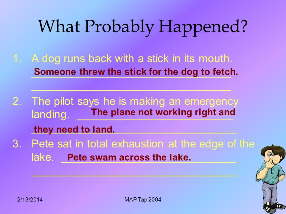 2/13/2014MAP Tap What Probably Happened. 1.A dog runs back with a stick in its mouth.