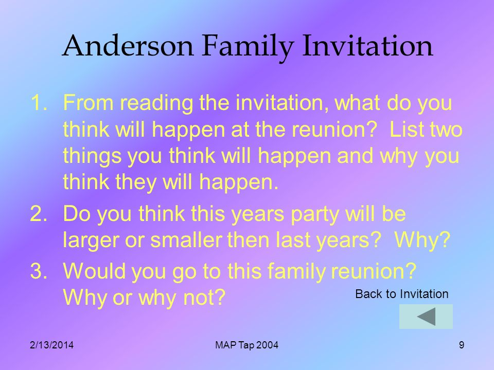 2/13/2014MAP Tap 20049 Anderson Family Invitation 1.From reading the invitation, what do you think will happen at the reunion.