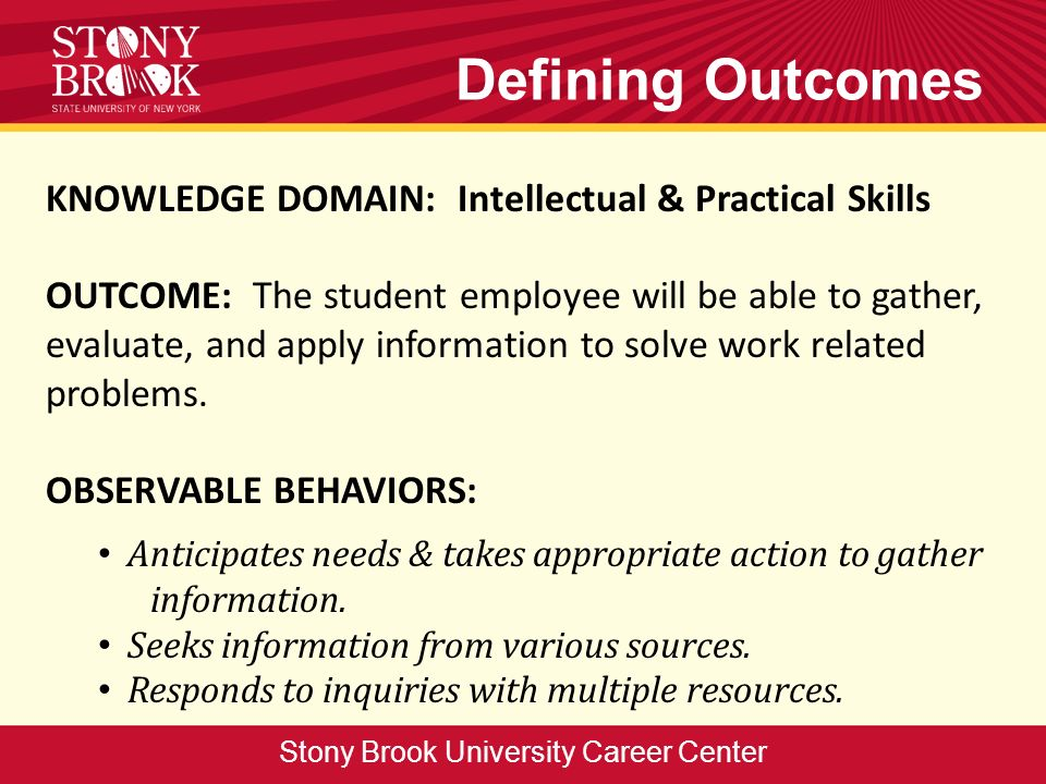 Defining Outcomes KNOWLEDGE DOMAIN: Intellectual & Practical Skills OUTCOME: The student employee will be able to gather, evaluate, and apply informat