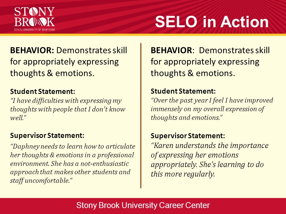 BEHAVIOR: Demonstrates skill for appropriately expressing thoughts & emotions.