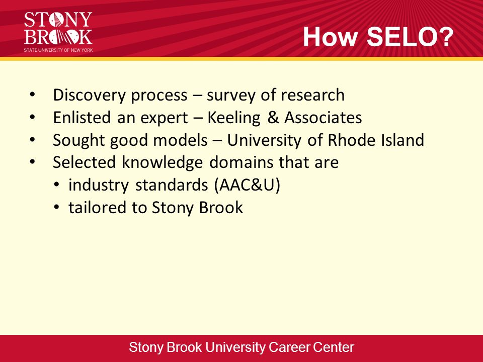 How SELO? Discovery process – survey of research Enlisted an expert – Keeling & Associates Sought good models – University of Rhode Island Selected kn