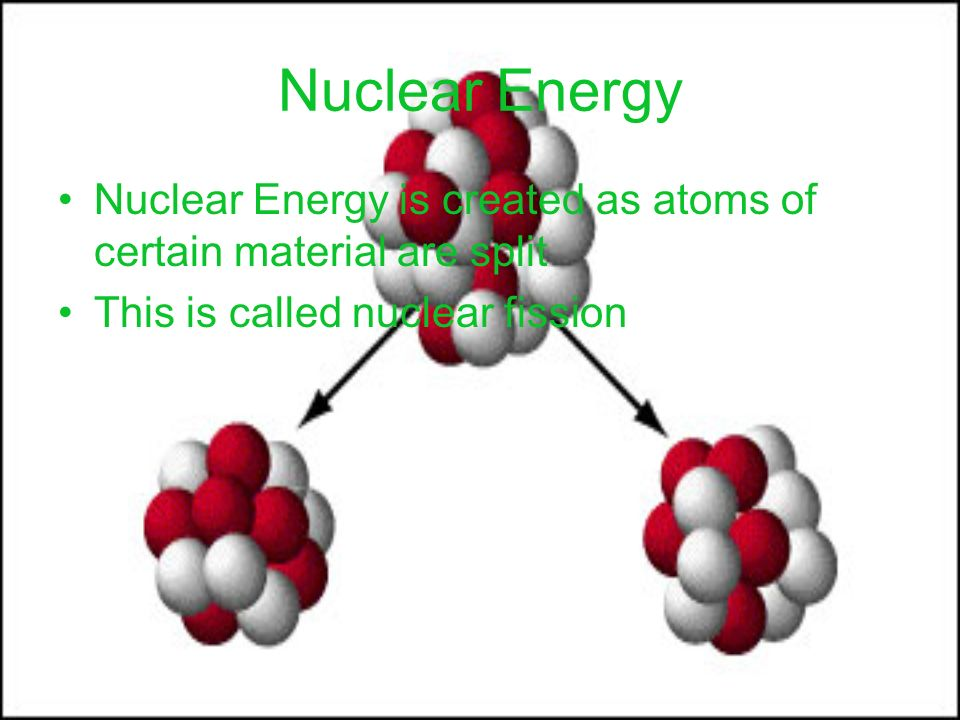 Nuclear Energy Nuclear Energy is created as atoms of certain material are split This is called nuclear fission