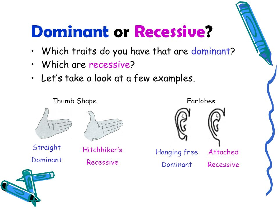 Which traits do you have that are dominant.Which are recessive.