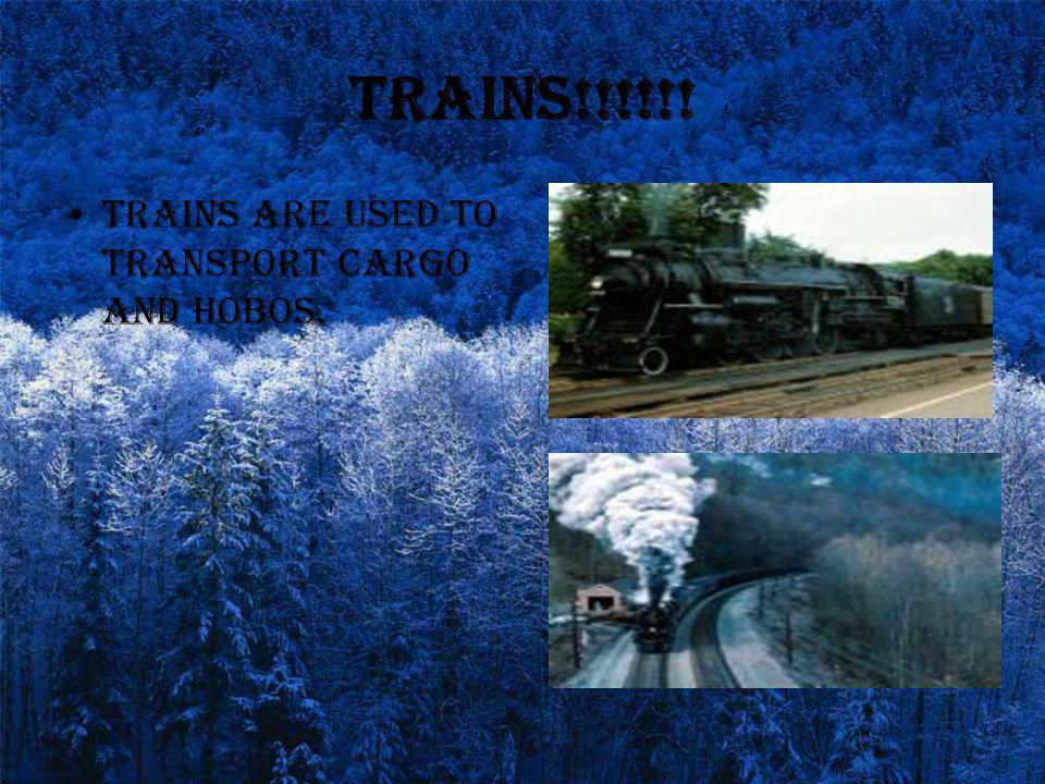 Trains!!!!!! Trains are used to transport cargo and hobos.