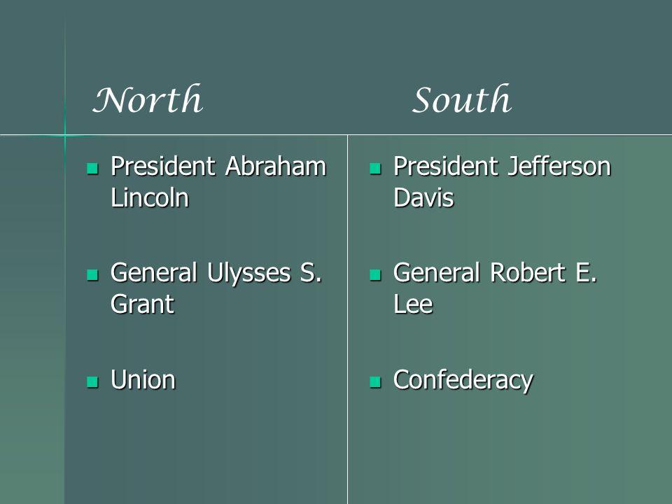 President Abraham Lincoln President Abraham Lincoln General Ulysses S. Grant General Ulysses S. Grant Union Union President Jefferson Davis President